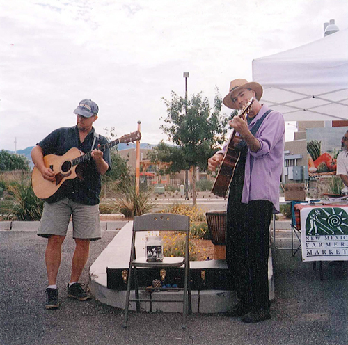 Dave and John playing at ABQ Uptown Growers' Market