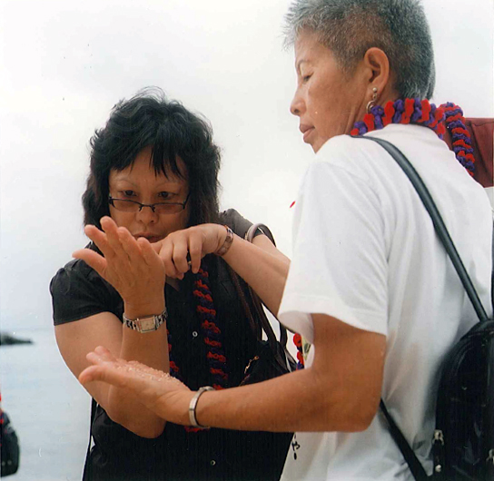 Christine Goias and Jane Yanabu on Taketomi island
