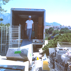 Tim loading the moving van