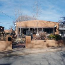 The front of a house in Santa Fe, New Mexico